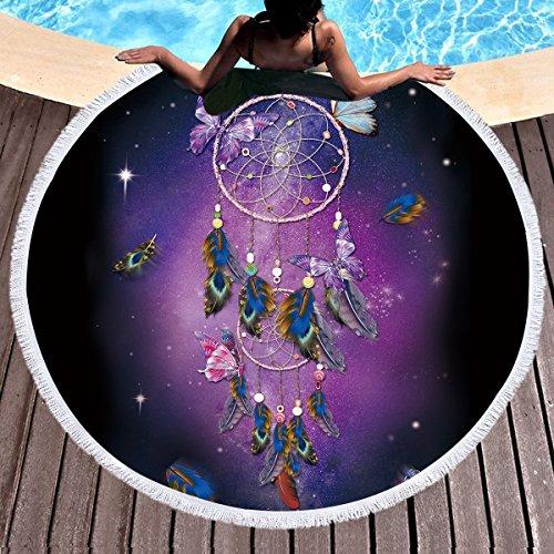 Redondo Toalla de playa atrapasueños plumas india Mandala playa Tapestry Hippie de y boho estilo de mantel mantel de picnic esterillas para yoga wandbehang 150 cm 1