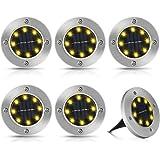 6 piezas Luces Solar de Tierra Luz, 8 LED Luces Solares Exterior Jardin, Luz Solar Jardín de Tierra, IP65 Luz de Piso a Prueb