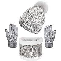 CheChury Beanie Sciarpa e Guanti Touch Screen Berretto Invernale Donna Cappello Invernali Lavorato a Maglia Cappelli…
