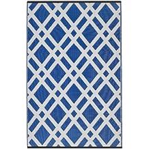 Fab Hab - Dublin - Alfombra para Exterior e Interior - Azul Deslumbrante y Blanco - (150 cm x 240 cm)