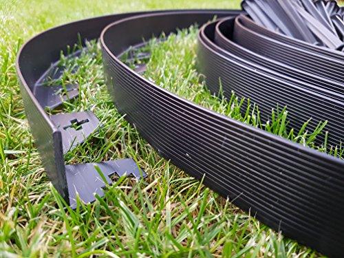 Bordure de jardin En plastique flexible Noir 10 mètres Avec 50 ...