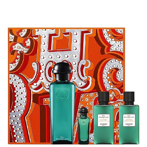 HERMES Orange Verte Set Eau de Cologne, 100 + Mini 7. 5+ Shower Gel, 80 ml (7,5 Ml Mini Spray)