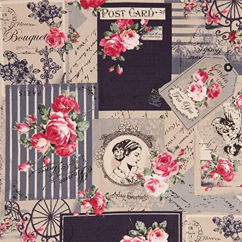 Beiger Stoff mit Postkarten und Rosen von Quilt Gate -