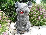 Steinfigur Maus, Gartenfigur Steinguss Tierfigur Basaltgrau