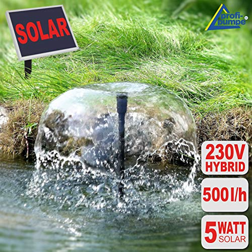 SOLAR TEICHPUMPE SOLAR TEICHPUMPEN SET GARTEN BRUNNEN OASIS 510-H HYBRID LED Solar-Teichpumpe WASSERSPIEL ZIERBRUNNEN mit innovativem SOLAR und 230V-BETRIEB 5 Watt, max. 500L/h max. 1.4m-Fontänenhöhe für Gartenteich Solarbrunnen Springbrunnen mit STABILEM ALU-RAHMEN