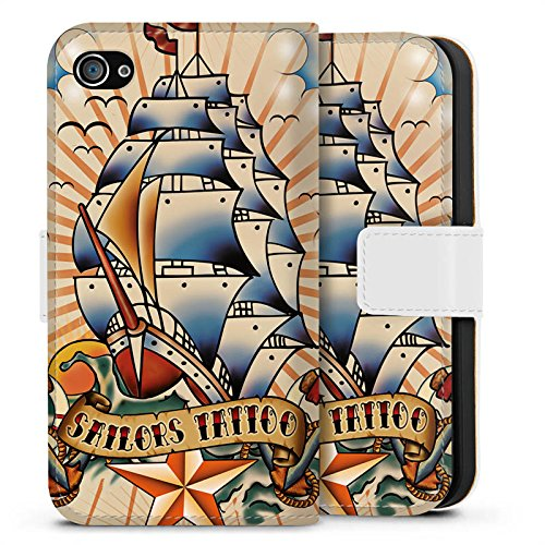 Apple iPhone X Silikon Hülle Case Schutzhülle Schiff Anker Sterne Sideflip Tasche weiß