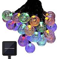 Tomshine 5.6M / 18.3ft 30 LED RGBY Multicolore Solare Corda Palla di Cristallo Luci Globe (Corda Solare)