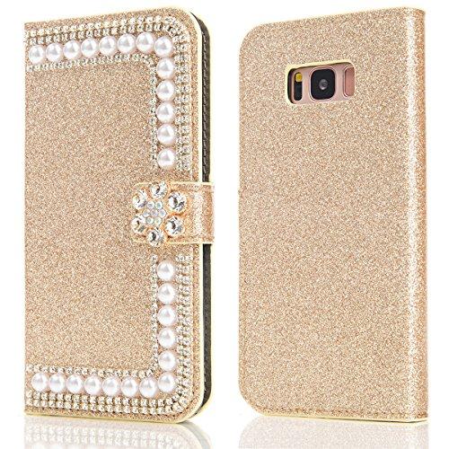 Samsung Galaxy S8 Funda Brillante Sparkling Glitter Cover Bling Bling Diamante Case Cover PU Cuero Shell con Flip Stand Case e Cierre Magnético Anti-Drop Cover oro