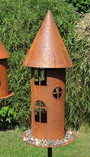 Blümelhuber Edelrost Vogelhaus Schmal am Stab Windlicht Futterstelle Gartendeko 160cm