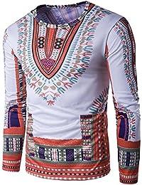QIYUN.Z Camisas Dashiki Ocasionales Del Cuello Redondo De Los Hombres Camisetas Tradicionales Africanas De La Manga Larga eCZ2mS3