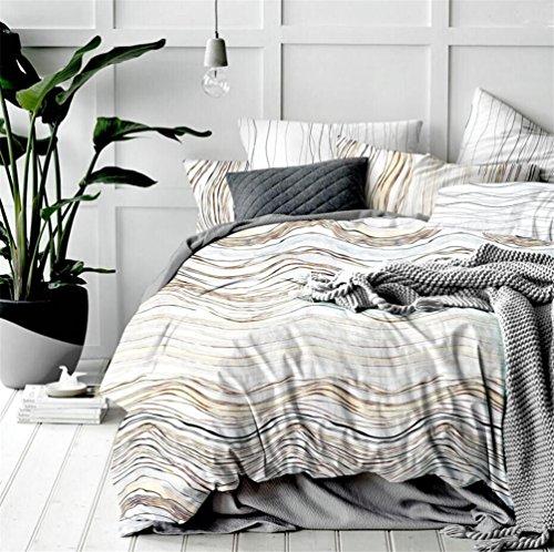 Modernes Design Quilt Bettbezug-Set mit Bettbezug, Kissen, sehr weich stoff Betten Bettwäsche–in verschiedenen Größe, perfekte Dekoration für Schlafzimmer, Rock Pattern Brown, Single(150x200 cm)-fit for 1.2M bed (Streifen Tröster Auf Einem)
