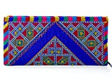 #6: Para Ladies Classic Hand Clutch Women Traditional Embroideries Wallet, Blue
