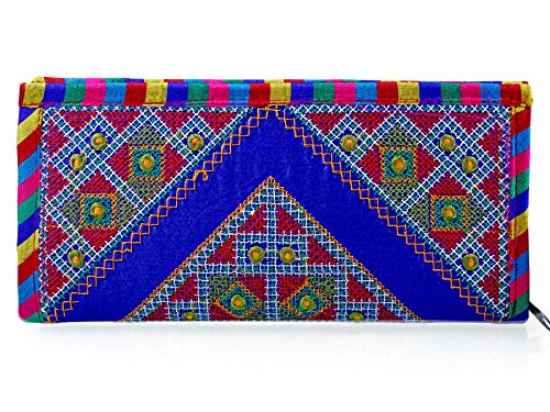 Para Ladies Classic Hand Clutch Women Traditional Embroideries Wallet, Blue  available at amazon for Rs.199