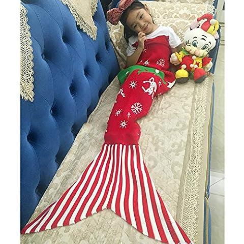 candora Mermaid Weihnachten Kinder Meerjungfrau Schwanz Sofa Decke, Klimaanlage Decke Decke Teen Schlaf Tasche Bett Snuggle Haushaltsartikel Polyester stricken Decke Decke 145* 75cm/144,8x 76,2cm Grün (Yellow Moses Basket)
