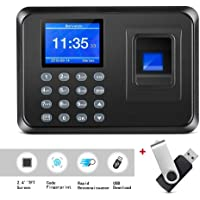 Thustand Fingerprint Machine, Time Attendance Clock, Intelligent Biometric Password Attendance Machine Employee Checking-in Recorder 2.4 inch TFT LCD Screen (with 8g USB Flash Drive)