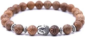 Lion & Son, bracciale in legno unisex, elmo da gladiatore, bracciale buddista, perle in legno, teschio, hamsa