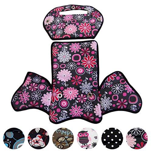 BambiniWelt24 BAMBINIWELT Ersatzbezug, Sitzkissen, Bezug für Fahrradsitz, Modell RÖMER Jockey (Modell 4, Design) (grau rosa Blumen)