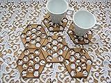 Honeycomb Untersetzer Set, umweltfreundlich Naturholz Essgeschirr, Sechseck Kaffee, Bier oder Tasse Matte.