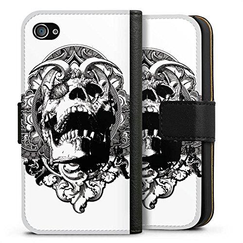Apple iPhone X Silikon Hülle Case Schutzhülle Skull Dämonen Totenkopf Sideflip Tasche schwarz