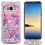 S8 Hülle für Samsung Galaxy S8 Case Schutzhülle Transparent Hülle TPU Silikon Handyhülle 3D Bling Glitzer Dynamisch Treibsand Liquid Fließen Flüssig Schale Tasche Etui Blumen Einhorn