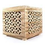 Homestyle4u Hocker Seite Holz Nachttisch Natur Couchtisch Cube Regal, Multicolor, Single