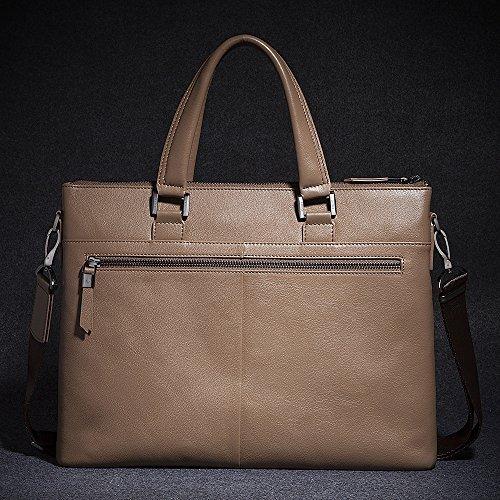 Oneworld Herren Rindleder Messenger Bag Aktentasche Schultertasche Notebooktasche Handtasche Umhängetasche Schultasche Tote Bag 37x28x7cm(BxHxT) Khaki Khaki