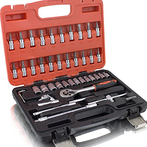 BITUXX® Werkzeugkoffer 46 tlg Knarrenkasten 1/4 Ratschenkasten Nusskasten Stecknuss Umfangreiches 1/4 Ratschen Set inkl. Nüsse und Adapter