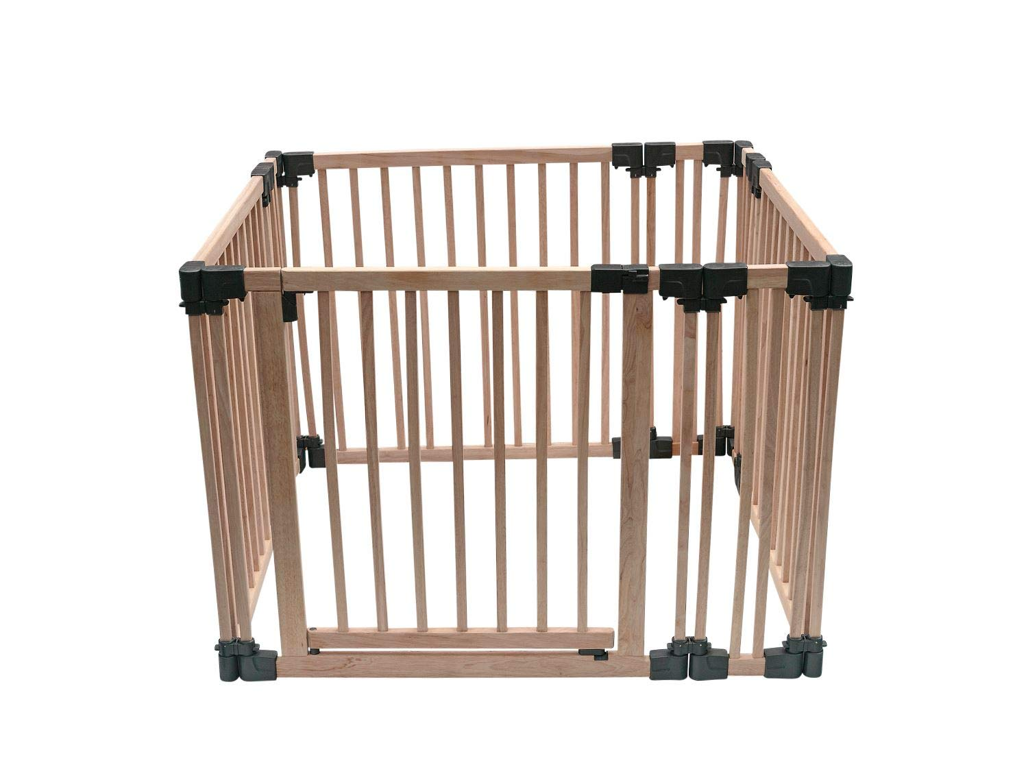 Safetots Play Pen Wooden All Sizes (Square) Safetots This configuration is complete with 1x 80cm gate panel, 3x 80cm panels and 4x 20cm panels. Made from premium grade wood designed to compliment all home interiors. Extra Wide Door Section for Easy Access, with simple slide and lift opening mechanism. 1