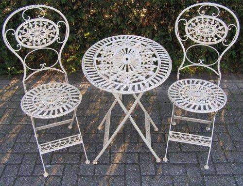 Casa Padrino Jugendstil Gartenmöbel Set Altweiss - 1 Tisch, 2 Stühle - Eisen - Garten Möbel Barock
