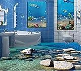Weaeo 3D-Bodenbeläge Wasser Stein Gepflasterten 3D Malerei Im Bad Tapeten Pvc Selbstklebend Wallpaper 120 X 100 Cm
