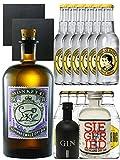 Gin-Set Monkey 47 Schwarzwald Dry Gin 0,5 Liter + Black Gin Gansloser Deutschland 5cl + Siegfried Dry Gin Deutschland 4cl + 6 x Thomas Henry Tonic Water 0,2 Liter, 6 x Goldberg Tonic Water 0,2 Liter + 2 Schieferuntersetzer quadratisch 9,5 cm