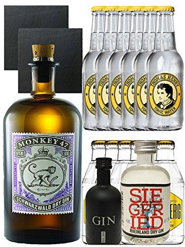 Gin-Set Monkey 47 Schwarzwald Dry Gin 0,5 Liter + Black Gin Gansloser Deutschland 5cl + Siegfried Dry Gin Deutschland 4cl + 6 x Thomas Henry Tonic Water 0,2 Liter, 6 x Goldberg Tonic Water 0,2 Liter + 2 Schieferuntersetzer quadratisch 9,5 cm (Alkohol 47)
