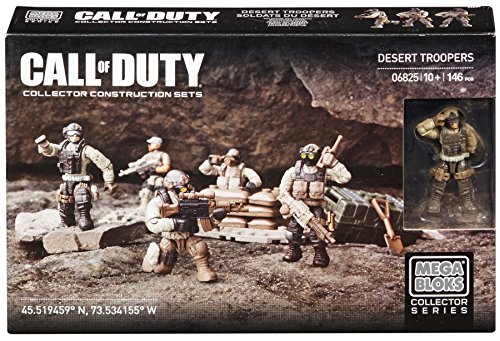 Mega Bloks Call Of Duty Desert Troopers  Mega Bloks introduces the Call of Duty Collector Construction Sets.  Extensive training in barren conditions makes the Desert Troopers the perfect soldiers for desert combat. Positioned on a small buildable ar...