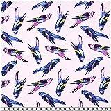 Elastic-Jersey-Kinderdruck, Papageien, rosa/mehrfarbig, ca.