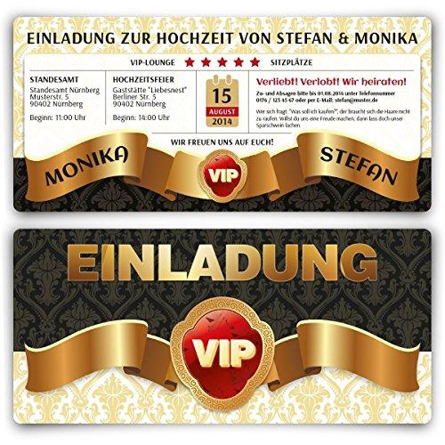 Einladungskarten zur Hochzeit (30 Stück) VIP Hochzeitskarten Ticket Einladung mit UV-Lack, edel