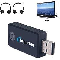 Transmetteur Bluetooth pour TV PC, aptX Faible Latence,(3.5 mm, RCA, Digital Audio) Dual Link USB d'ordinateur Sans fil Adaptateur Audio pour Casque d'écoute, Plug and Play