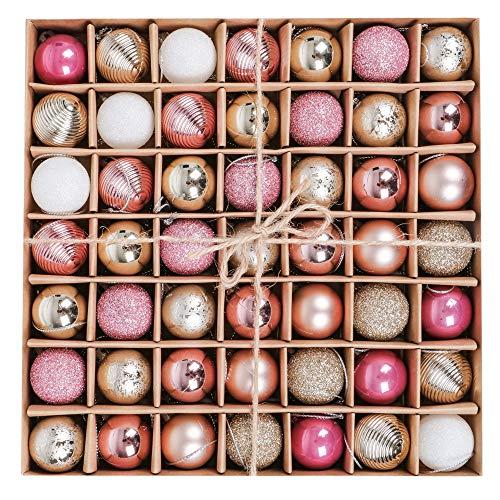 Victor's workshop palline di natale 49 pezzi 3cm palline di natale in plastica decorazioni per l'albero di natale capodanno decorazioni natalizie buon natale oro rosa multi-packaging