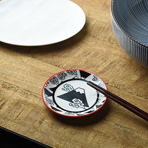 [5Teller Set] Yamani Keramik Mino Yaki 9,8cm handgefertigt schwarz MT. Fuji Muster Kleiner Teller für Soja-Soße, Lebensmittel etc. aus Japan - Japan-muster