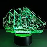 DENGS 3D Effekt Illusion Lampe / Schreibtischbeleuchtung Puzzle Boot Form 7 Farbe Berührungsschalter LED USB Ladevorgang für Baby Schlafende Nachtlichter , Bild farbe