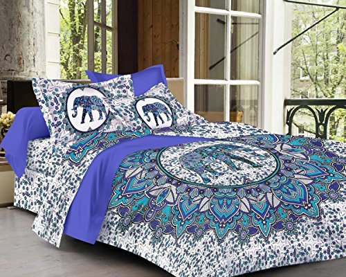 SheetKart Elephant Mandala Printed Traditional 144 TC Cotton Double Bedsheet and 2...