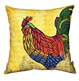 Air Castle- Home Decore- Polyester & Polyester Blend- Rooster Illustration Cushion Cover best price on Amazon @ Rs. 789