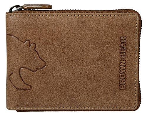 Brown Bear Geldbörse Leder Braun Camel Vintage Reißverschluss hochwertig Herren Portemonnaie Damen Geldbeutel Männer Portmonee Frauen Portmonaise