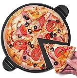 vremi vrm020304N Keramik Pizzastein für Grill und oven-large rund 33cm Aluminiumguss Backen integrierten Griffen für Küche oder Outdoor barbeque-thick Professional, Brot Steingut für Tarts, Pies und