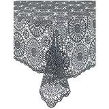 KERSTEN · DIS-9162.2 Outdoor-Tischdecke   Tischdecke abwischbar HD-Collection' Cloth Crochet' 180cm · dunkelgrau