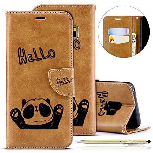 Handytasche Kompatibel mit Samsung Galaxy S9 Lederhülle Niedlich 3D Panda Muster Flip Case Cover Hülle Leder Klapphülle Leder Tasche im Bookstyle Handyhülle Brieftasche Schutzhülle,Braun