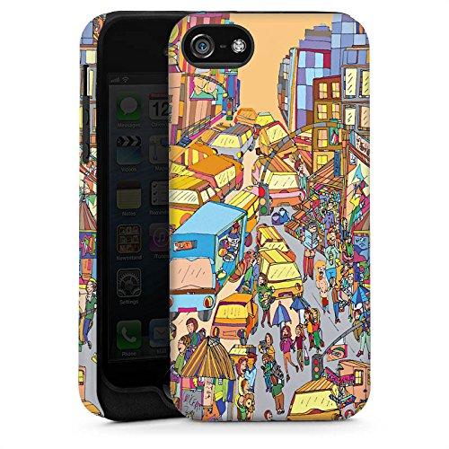 Apple iPhone 5s Housse Étui Protection Coque New York couleurs Ville Cas Tough brillant