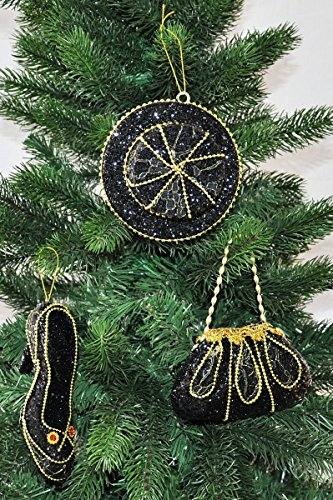 Kaemingk Königlicher Christbaumschmuck Hut Stöckelschuh Handtasche Gold Schwarz Glitzer, Farbe:Schwarz