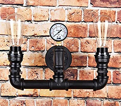 Vintage Steampunk Pipe Wall Light 2 Lamps Design Water Gauge from LOMT