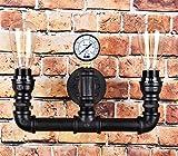 Vintage Steampunk Pipe Wall Light 2 Lamps Design Water Gauge ()