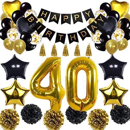 ationen Ballon Banner - Happy Birthday Banner, 40. Gold Anzahl Ballons, Schwarz und Gold, Nummer 40 Geburtstag Ballons, 40 Jahre alt Geburtstag Dekoration ()